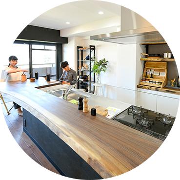 天然木一枚板のキッチンカウンター
