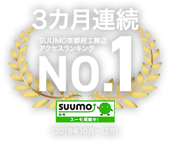 SUUMO(スーモ)京都府の工務店アクセスランキング3カ月連続NO.1(2019年10月、11月、12月)